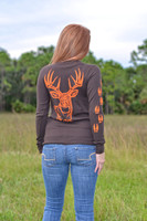 MEDIUM _Brown Thermal Orange big buck  long sleeve  size MEDIUM only