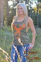 Country Camo tank with orange big buck head