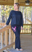 Black yoga pants with neon pink big buck head