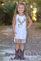 Cute baby and toddler little white country dress with brown big buck