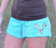 Cute MINT deer skull hunting lounge shorts