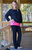 Black Glitter deer skull  yoga pants with pink contrast band