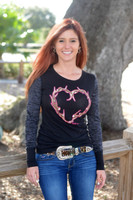 Black long sleeve  Antler Heart shirt 60% OFF
