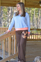 MEDIUM ONLY-Juniors Brown lounge pants with neon orange Sporty Girl Glitter