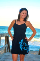 Black  One Size Fits Some With Straps Sea Turtle Nautical Dress