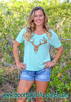 Women's Mint loose fitting deer skull t-shirt 35% OF