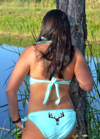 BOTTOM  MINT Full keyhole bottom with metallic brown deer skull bikini