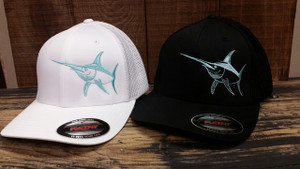 Mens Mesh back fitted Flex fit white or  black  with mint SWORDFISH