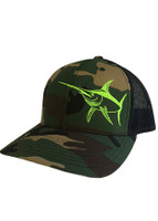 neon green SWORDFISH CAMO MESH BACK HAT