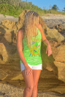 NEON GREEN  FISHING  Dolphin Racer Back Tank