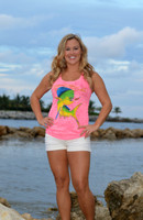 NEON PINK FISHING  Dolphin Racer Back Tank