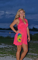 Coral shorter style dolphin dress