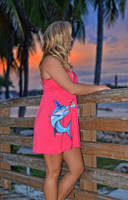 SMALL ONLY -Coral shorter style MARLIN  dress