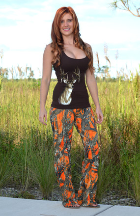 Orange Camo Pants Sporty Girl Apparel