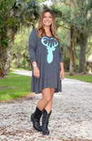 2X only Plus size long sleeve mint buck heart dress