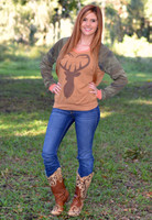 Buck heart orange long sleeve  with camo sleeves