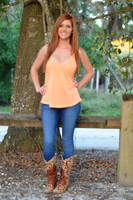 Basic Orange loose fit racerback tank top