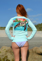 Mint Seaturtle with Jupiter lighthouse ladies sunscreen 50+ shirt
