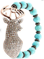 TEAL  beaded Deer Crystal bracelet