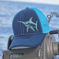 Womens Navy with teal mesh back velcro back hat