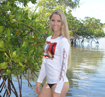 Lobster with dive flag Ladies fit SPF sunshirt