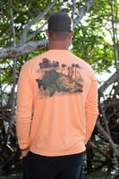 Mens tangerine orange snook sun shirt