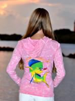 Pink vintage washed dolphin zip hoodie