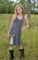 Kids youth onsize gray deer head dress