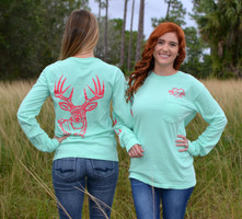 Mint long sleeve pocket shirt with coral bing buck