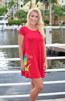 SMALL  only -Women's red mahi mahi loose fitting dress