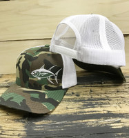 CAMO AND WHITE Tuna fishing  Mesh Back  adjustable hat