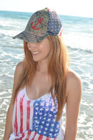 American pride glitter anchor  Snap Back Mesh back
