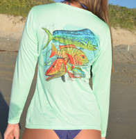 Mixed fish with Florida Keys map Ladies performance shirts