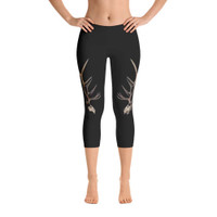 Black ELK SKULL  design leggings  (capri or full length)