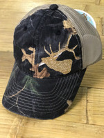 Ladies Black camo with gold glitter ELK head