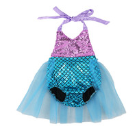 baby purple and blue tutu mermaid baby romper