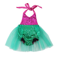 Pink and green  tutu mermaid baby romper