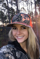 Neon Orange and camo Glitter deer skull hat