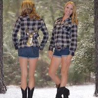 Sporty Girl black Deer  Head Flannel