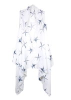 White with black starfish cardigan vest