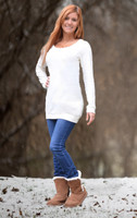 cream or Black  sweater tunic dress
