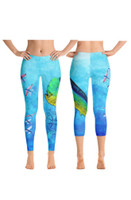 Mahi Mahi  with flying fish  fishing leggings -cropped or capri