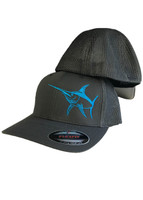 Mens Onesize flex fit mesh back  gray hat with blue Swordfish