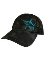 Unstructured Krypetk  black camo with blue swordfish baseball cap