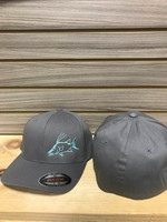 Solid light gray flex fit  hat with blue hogfish