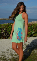 mint green seahorse  high neck shift  dress