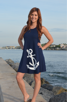 Navy  ANCHOR high neck shift  dress