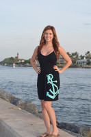 one-size fits some spaghetti strap black anchor dress