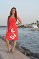 one-size fits some tube top coral  anchor dress