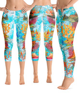 Reef Fish with Bahamas  and Florida keys chart  leggings Full or cropped length